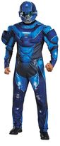 Teen Classic Halo Blue Spartan Muscle Costume
