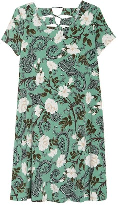 Nina Leonard Jewel Neck Short Sleeve Floral Print Dress
