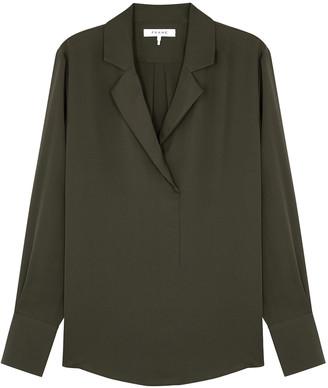 Frame Dark olive silk blouse