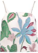 Tory Burch Wisteria Embellished Jacquard And Organza Tank