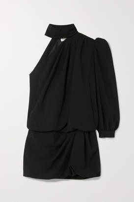 Saint Laurent One-shoulder Crepe Mini Dress - Black