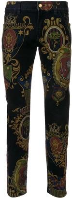 Dolce & Gabbana crest print jeans