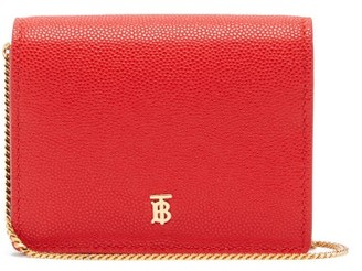 Burberry Jade Chain-strap Pebbled-leather Wallet - Red