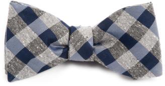 Tie Bar Splattered Gingham Navy Bow Tie