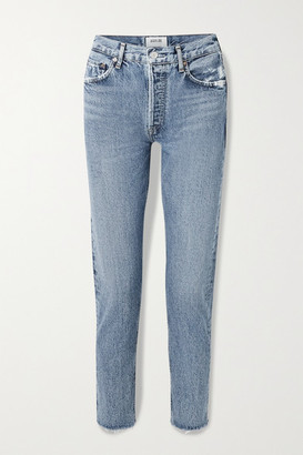 AGOLDE Jamie Cropped Frayed Organic High-rise Straight-leg Jeans - Mid denim