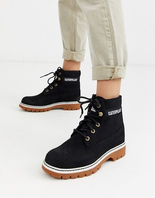CAT Footwear CAT lyric corduroy suede lace up boots in black