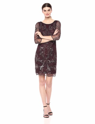 Pisarro Nights Women's 3/4th Sleeve Short Dress with Beaded x-Motif