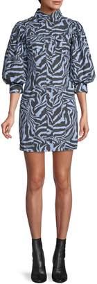 Ganni Tiger-Print Cotton Shirtdress