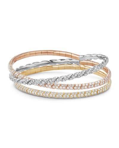 David Yurman Three-Row Paveflex Bracelet with Diamonds