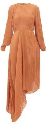 Preen by Thornton Bregazzi Glenda Pleated Asymmetric-hem Georgette Dress - Womens - Light Brown