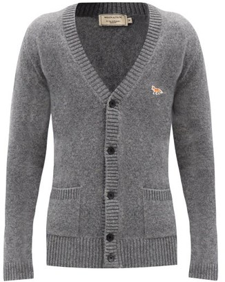 MAISON KITSUNÉ Profile Fox-patch Lambswool Cardigan - Grey