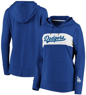 Women's Fanatics Branded Royal Los Angeles Dodgers Tri-Blend Colorblock Pullover Hoodie