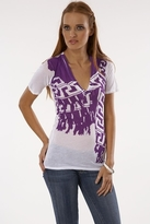 Monrow Block Scarf Neck Top in Orchid