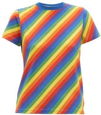 Balenciaga Rainbow Stripe Print Cotton T Shirt - Womens - Multi