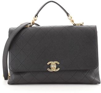 Chanel CC Top Handle Flap Satchel Stitched Caviar Medium