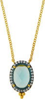 Freida Rothman Oval Aqua CZ Crystal Pendant Necklace