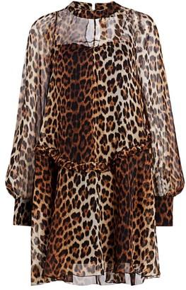 No.21 Ruched Leopard Print Silk Dress