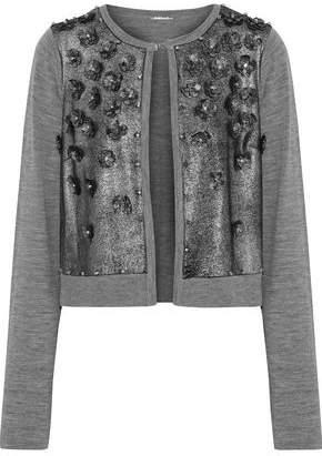 Elie Tahari Alena Embellished Metallic Suede-paneled Merino Wool Cardigan