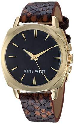 Nine West Women's Gold-Tone and Brown Snake Patterned Strap Watch