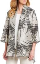 Caroline Rose Drape Front Sheer-Stripe Shimmer Details Cardigan