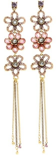 Betsey Johnson Spring Bloom 3 Flower Chain Earrings (Pink/Purple/Antique Gold) - Jewelry