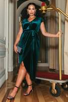 Quiz Sam Faiers Curve Bottle Green Velvet Wrap Midi Dress