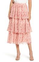 Rachel Parcell Print Tiered Ruffle Skirt