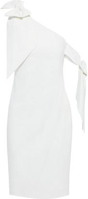 Badgley Mischka Bow-embellished Stretch-crepe Dress