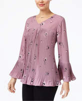Style&Co. Style & Co Style & Co Petite Pleated Bell-Sleeve Top, Created for Macy's