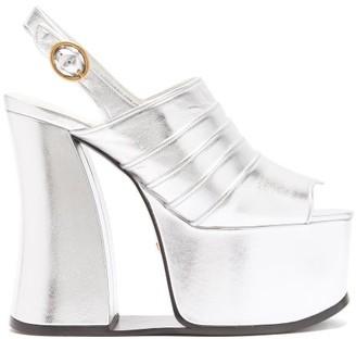 Gucci Anais Open-toe Metallic-leather Platform Shoes - Silver