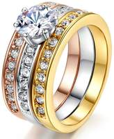 LILILEO Jewelry Luxury 3-Storey 3-Color Suit Micro-Set High-Grade Zircon Plating Gold Engagement Ring For Women's Rings