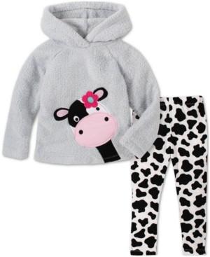Kids Headquarters Baby Girls 2-Piece Cow Hoodie & Printed Pants Set