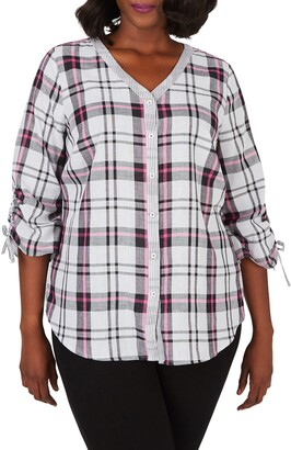 Foxcroft Marlin Double Face Plaid Cotton Button-Up Shirt