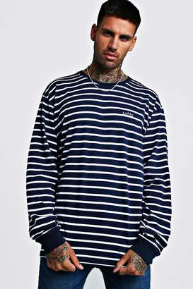 boohoo MAN Loose Fit Striped Long Sleeve T-Shirt