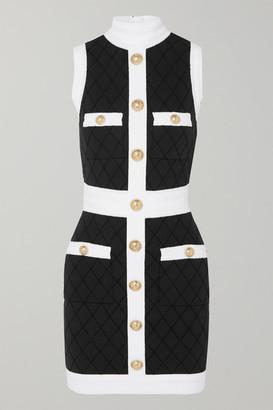 Balmain Two-tone Button-embellished Stretch-knit Mini Dress - Black