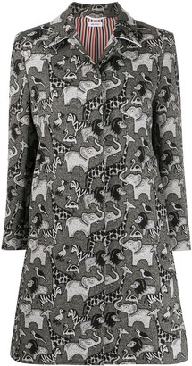 Thom Browne Narrow Shoulder Bal Collar O/C In Fun Mix Animal Icon Tapestry Jacquard