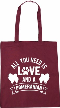 Hippowarehouse All you need is love and a Pomeranian Tote Shopping Gym Beach Bag 42cm x38cm 10 litres