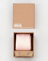 Asos WEDDING Tie In Pink And Cufflink Pack
