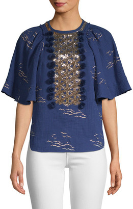 Manoush Sequin Bell-Sleeve Blouse