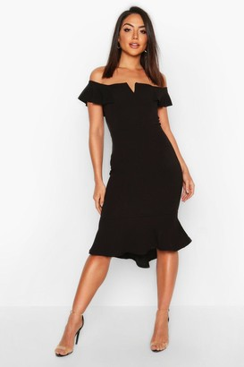 boohoo Off The Shoulder V Bar Ruffle Hem Midi Dress