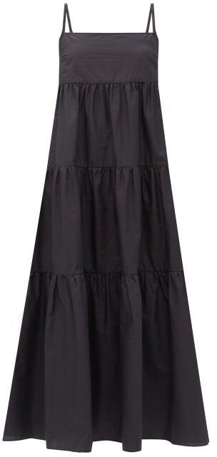 Matteau The Tiered Organic-cotton Midi Dress - Black