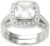 Journee Collection 4 1/3 CT. T.W. Cushion Cut CZ Basket Set Halo Ring in Sterling Silver