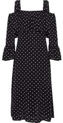 Ganni Monette Cold-shoulder Printed Georgette Dress