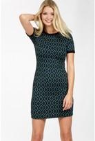 Select Fashion Fashion Womens Green Diamond Jacquard Mini Dress - size 6