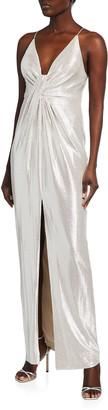 Aidan Mattox Metallic Knit Front-Slit Column Gown