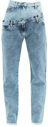 Natasha Zinko Double-layered Frayed Cotton Jeans - Womens - Light Denim