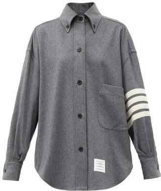 Thom Browne Oversized Four-bar Stripe Cashmere-flannel Shirt - Grey