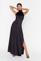 Nasty Gal Womens You Hold Me Up Satin Halter Dress - black - 14