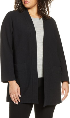 Eileen Fisher Textured Open Front Long Jacket