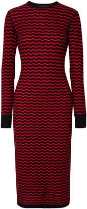 Marc Jacobs Striped Merino Wool Midi Dress
